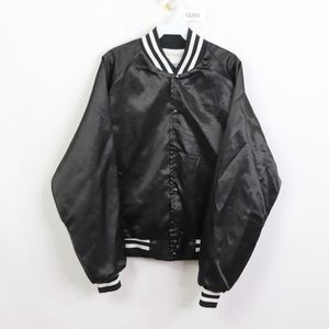 80s Mens XL Chevrolet Satin Bomber Jacket Black
